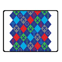 Minecraft Ugly Holiday Christmas Double Sided Fleece Blanket (small)  by Onesevenart