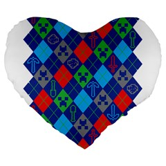 Minecraft Ugly Holiday Christmas Large 19  Premium Flano Heart Shape Cushions by Onesevenart