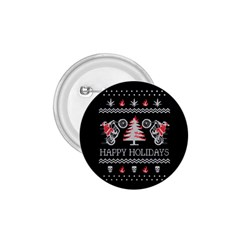 Motorcycle Santa Happy Holidays Ugly Christmas Black Background 1 75  Buttons by Onesevenart