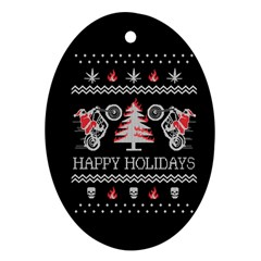 Motorcycle Santa Happy Holidays Ugly Christmas Black Background Ornament (oval) by Onesevenart