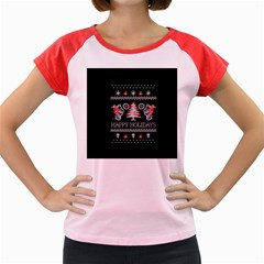 Motorcycle Santa Happy Holidays Ugly Christmas Black Background Women s Cap Sleeve T Shirt by Onesevenart