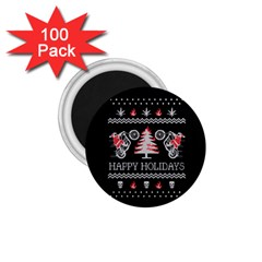 Motorcycle Santa Happy Holidays Ugly Christmas Black Background 1 75  Magnets (100 Pack)  by Onesevenart