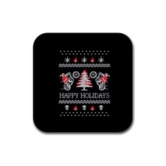 Motorcycle Santa Happy Holidays Ugly Christmas Black Background Rubber Coaster (square)  by Onesevenart