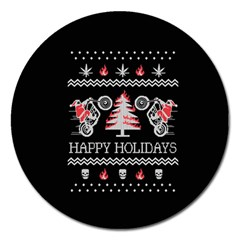 Motorcycle Santa Happy Holidays Ugly Christmas Black Background Magnet 5  (round) by Onesevenart