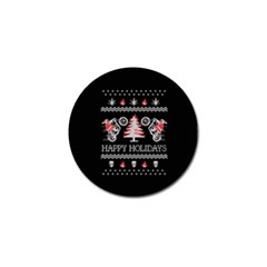 Motorcycle Santa Happy Holidays Ugly Christmas Black Background Golf Ball Marker (10 Pack) by Onesevenart