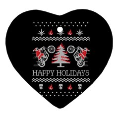 Motorcycle Santa Happy Holidays Ugly Christmas Black Background Heart Ornament (two Sides) by Onesevenart