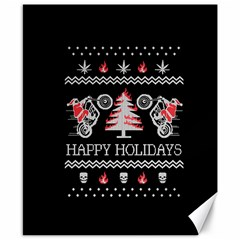 Motorcycle Santa Happy Holidays Ugly Christmas Black Background Canvas 8  X 10  by Onesevenart