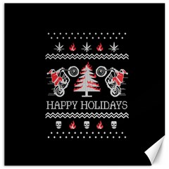 Motorcycle Santa Happy Holidays Ugly Christmas Black Background Canvas 12  X 12   by Onesevenart
