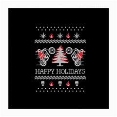 Motorcycle Santa Happy Holidays Ugly Christmas Black Background Medium Glasses Cloth (2 Side) by Onesevenart