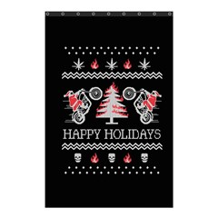 Motorcycle Santa Happy Holidays Ugly Christmas Black Background Shower Curtain 48  X 72  (small)  by Onesevenart