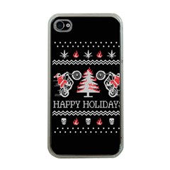 Motorcycle Santa Happy Holidays Ugly Christmas Black Background Apple Iphone 4 Case (clear) by Onesevenart