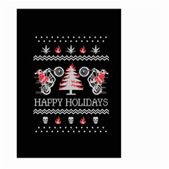 Motorcycle Santa Happy Holidays Ugly Christmas Black Background Large Garden Flag (two Sides) by Onesevenart