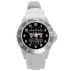 Motorcycle Santa Happy Holidays Ugly Christmas Black Background Round Plastic Sport Watch (l) by Onesevenart