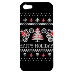 Motorcycle Santa Happy Holidays Ugly Christmas Black Background Apple Iphone 5 Hardshell Case by Onesevenart
