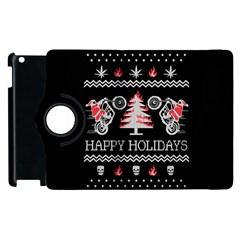 Motorcycle Santa Happy Holidays Ugly Christmas Black Background Apple Ipad 2 Flip 360 Case by Onesevenart