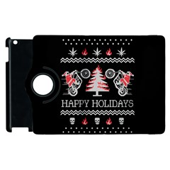 Motorcycle Santa Happy Holidays Ugly Christmas Black Background Apple Ipad 3/4 Flip 360 Case by Onesevenart
