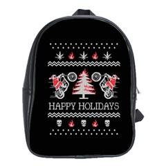 Motorcycle Santa Happy Holidays Ugly Christmas Black Background School Bags (xl)  by Onesevenart