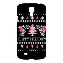 Motorcycle Santa Happy Holidays Ugly Christmas Black Background Samsung Galaxy S4 I9500/i9505 Hardshell Case by Onesevenart