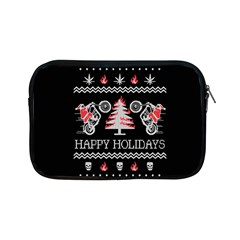 Motorcycle Santa Happy Holidays Ugly Christmas Black Background Apple Ipad Mini Zipper Cases by Onesevenart