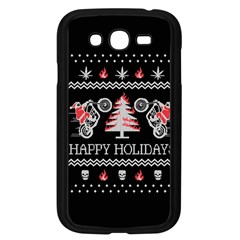 Motorcycle Santa Happy Holidays Ugly Christmas Black Background Samsung Galaxy Grand Duos I9082 Case (black) by Onesevenart