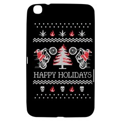 Motorcycle Santa Happy Holidays Ugly Christmas Black Background Samsung Galaxy Tab 3 (8 ) T3100 Hardshell Case  by Onesevenart