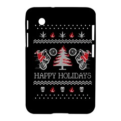 Motorcycle Santa Happy Holidays Ugly Christmas Black Background Samsung Galaxy Tab 2 (7 ) P3100 Hardshell Case  by Onesevenart