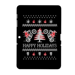 Motorcycle Santa Happy Holidays Ugly Christmas Black Background Samsung Galaxy Tab 2 (10 1 ) P5100 Hardshell Case  by Onesevenart