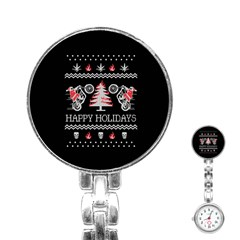 Motorcycle Santa Happy Holidays Ugly Christmas Black Background Stainless Steel Nurses Watch by Onesevenart