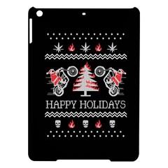 Motorcycle Santa Happy Holidays Ugly Christmas Black Background Ipad Air Hardshell Cases by Onesevenart