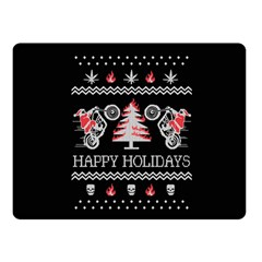 Motorcycle Santa Happy Holidays Ugly Christmas Black Background Double Sided Fleece Blanket (Small)  by Onesevenart