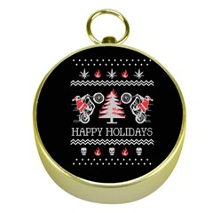 Motorcycle Santa Happy Holidays Ugly Christmas Black Background Gold Compasses by Onesevenart