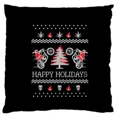 Motorcycle Santa Happy Holidays Ugly Christmas Black Background Large Flano Cushion Case (two Sides) by Onesevenart
