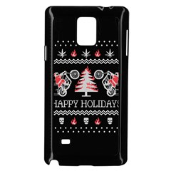 Motorcycle Santa Happy Holidays Ugly Christmas Black Background Samsung Galaxy Note 4 Case (black) by Onesevenart