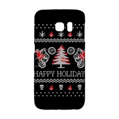 Motorcycle Santa Happy Holidays Ugly Christmas Black Background Galaxy S6 Edge by Onesevenart