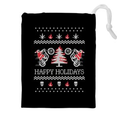 Motorcycle Santa Happy Holidays Ugly Christmas Black Background Drawstring Pouches (xxl) by Onesevenart