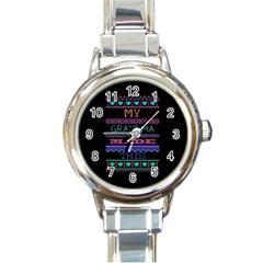 My Grandma Made This Ugly Holiday Black Background Round Italian Charm Watch by Onesevenart