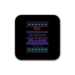 My Grandma Made This Ugly Holiday Black Background Rubber Square Coaster (4 Pack)  by Onesevenart