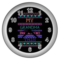 My Grandma Made This Ugly Holiday Black Background Wall Clocks (silver)  by Onesevenart
