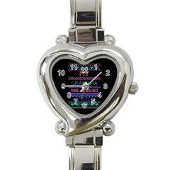 My Grandma Made This Ugly Holiday Black Background Heart Italian Charm Watch by Onesevenart