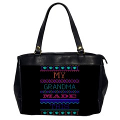 My Grandma Made This Ugly Holiday Black Background Office Handbags by Onesevenart
