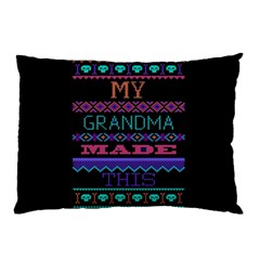 My Grandma Made This Ugly Holiday Black Background Pillow Case (two Sides) by Onesevenart