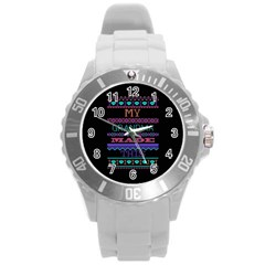 My Grandma Made This Ugly Holiday Black Background Round Plastic Sport Watch (l) by Onesevenart