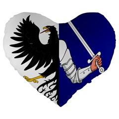Flag Of Connacht Large 19  Premium Flano Heart Shape Cushions by abbeyz71