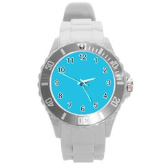 Neon Color   Brilliant Arctic Blue Round Plastic Sport Watch (l) by tarastyle
