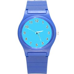 Neon Color   Brilliant Cerulean Round Plastic Sport Watch (s) by tarastyle