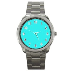 Neon Color   Brilliant Cyan Sport Metal Watch by tarastyle