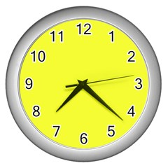 Neon Color   Brilliant Yellow Wall Clocks (silver)  by tarastyle