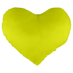 Neon Color   Brilliant Yellow Large 19  Premium Heart Shape Cushions by tarastyle