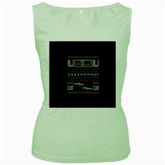 Old School Ugly Holiday Christmas Black Background Women s Green Tank Top by Onesevenart