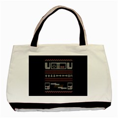 Old School Ugly Holiday Christmas Black Background Basic Tote Bag (two Sides) by Onesevenart